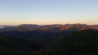 Sunrise from an entirely successful mountain day (it's mostly good not bad), from the peak of Fairfield.