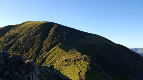 Looking back on some steep descent (again totally planned this time) on St Sunday's Crag.