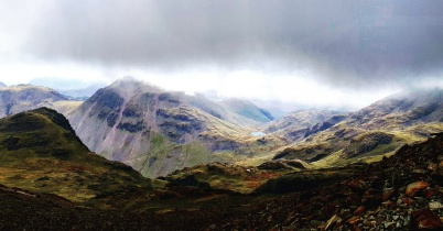 View from below the cloud line on Scafell Pike